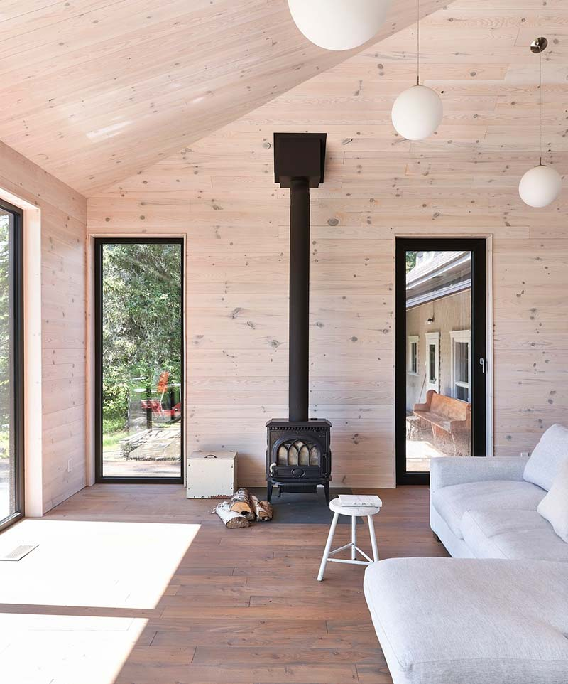 lake house design wood stove - The Sisters