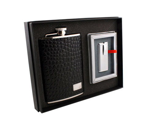 Leather Flask Lighter Gift Set Classy Sins Accessories
