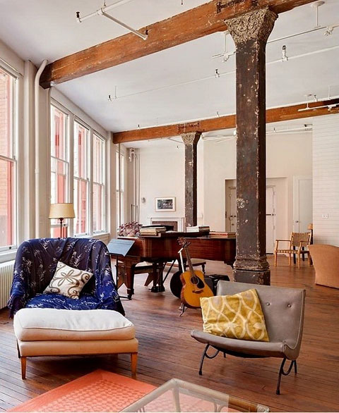 New York Lofts: Franklin St Loft: Bright Bohemian