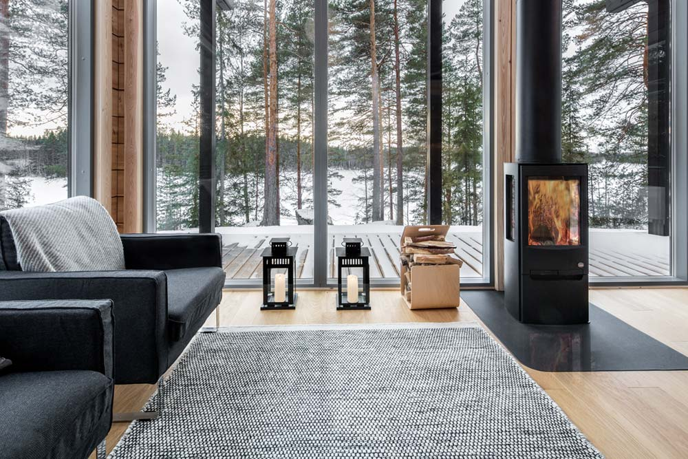 log cabin design modern fireplace - Inio Log Cabin