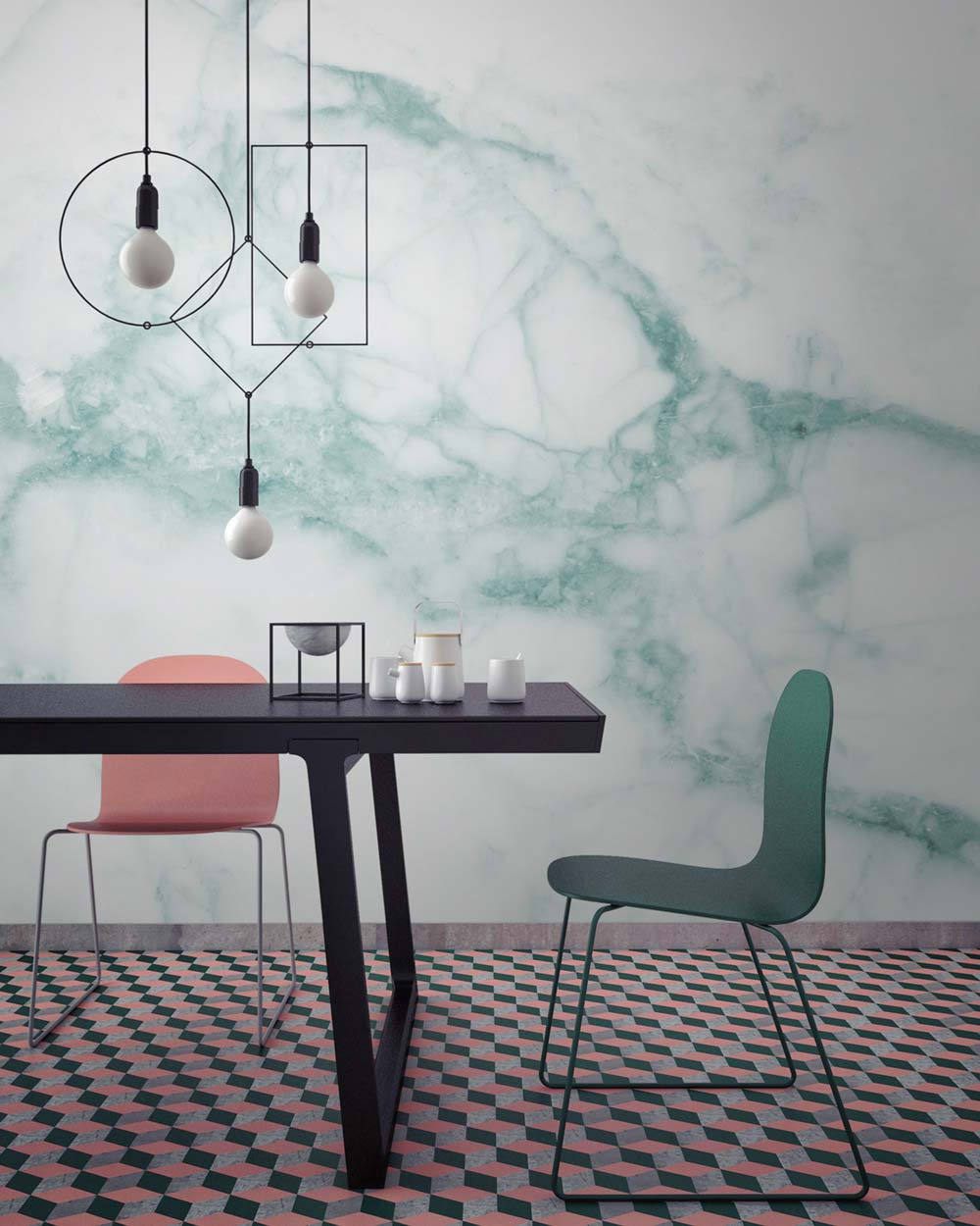 Green marble wallpaper mural