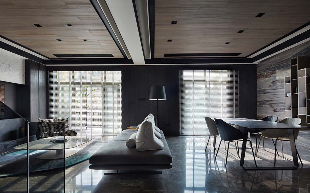 Modern Apartment Interior Design in Shades of Black, White ...