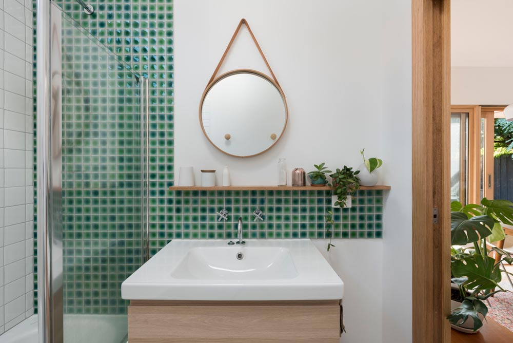 modern bathroom green tile nd - St David Residence Extension