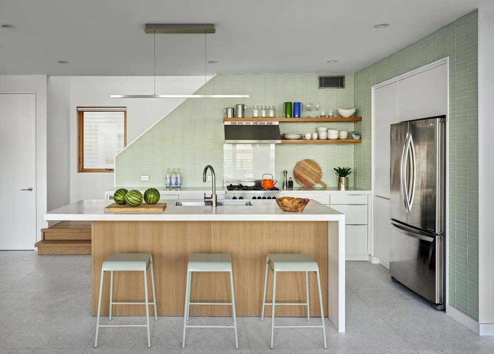 modern beach house kitchen island - Surfboard House