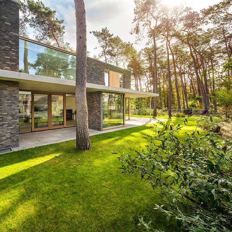 modern brick glass villa exterior hd - Villa Zeist 2