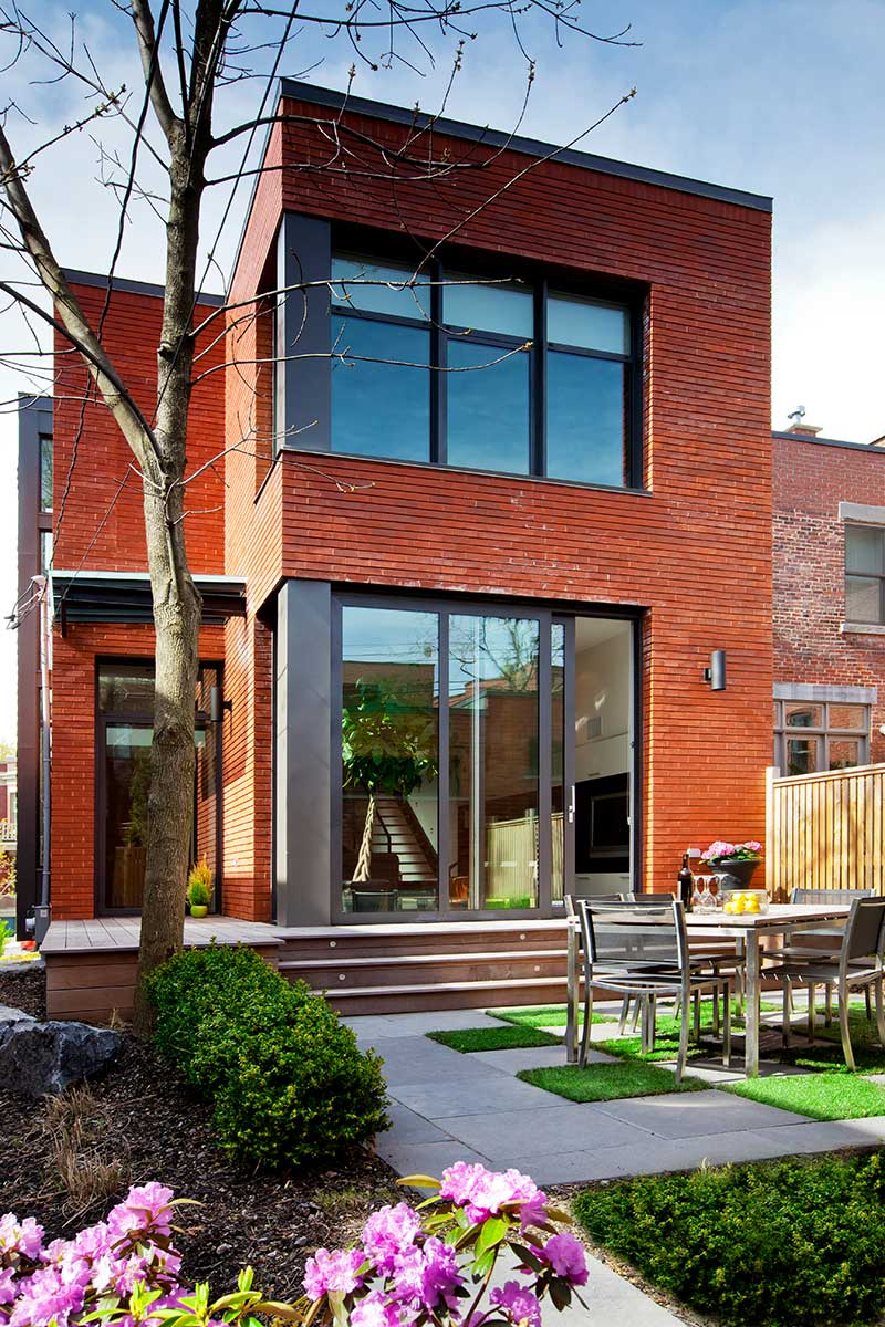 Red brick house modern