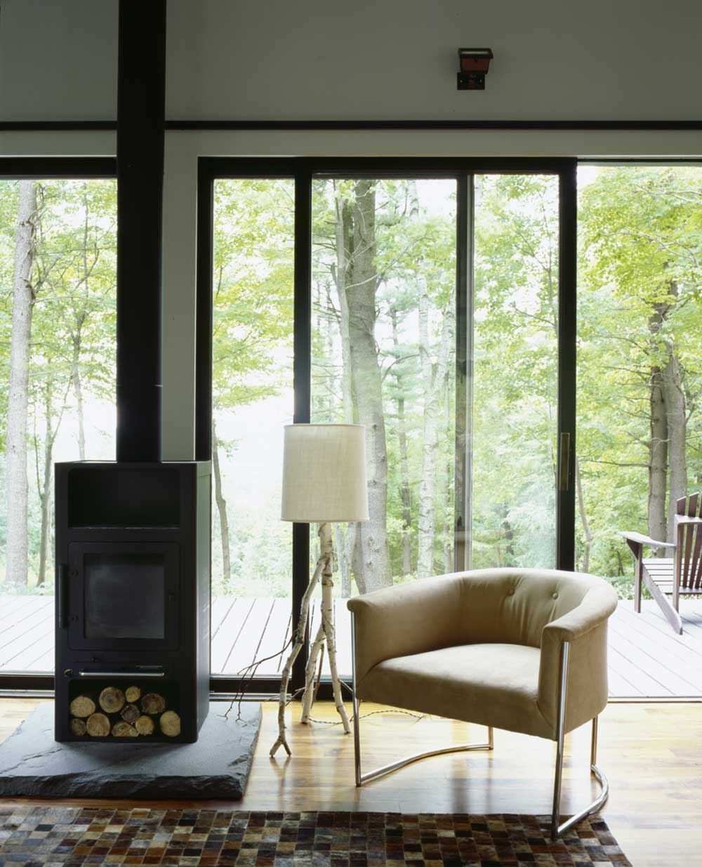 modern cabin fireplace design inc - Sixteen Doors Cabin