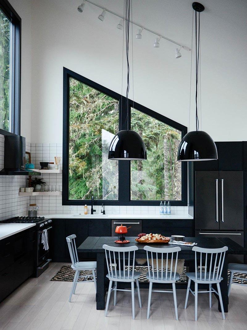 modern cabin kitchen design cw - Alpine Noir Chalet