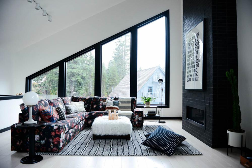 modern cabin living design cw - Alpine Noir Chalet