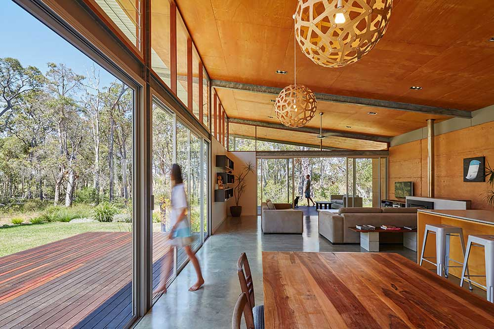 modern cabin steel design interiors - Bush House