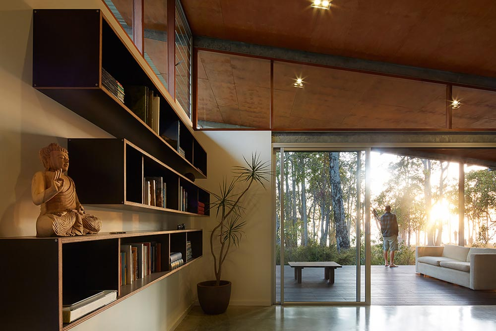 modern cabin steel interior design - Bush House