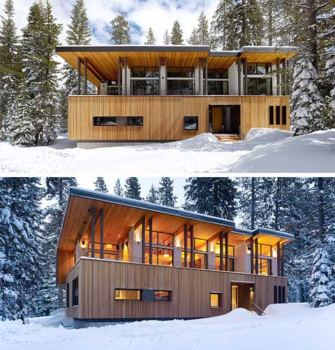 Suagr bowl cabin winter wonderland modern cabins for Winter cabin plans