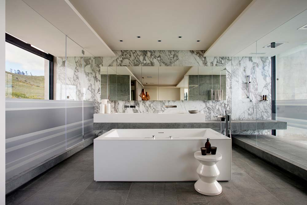 Elegant White Marble Master Bathroom