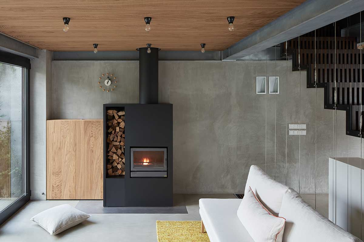 modern concrete house fireplace okp - Rusty House