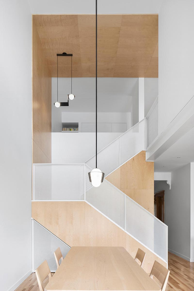 modern family home design stairs nh - Des Érables residence