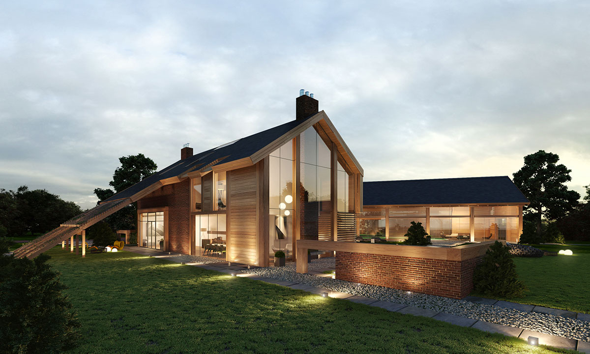 Contemporary farm house barn houses Modern farm homes