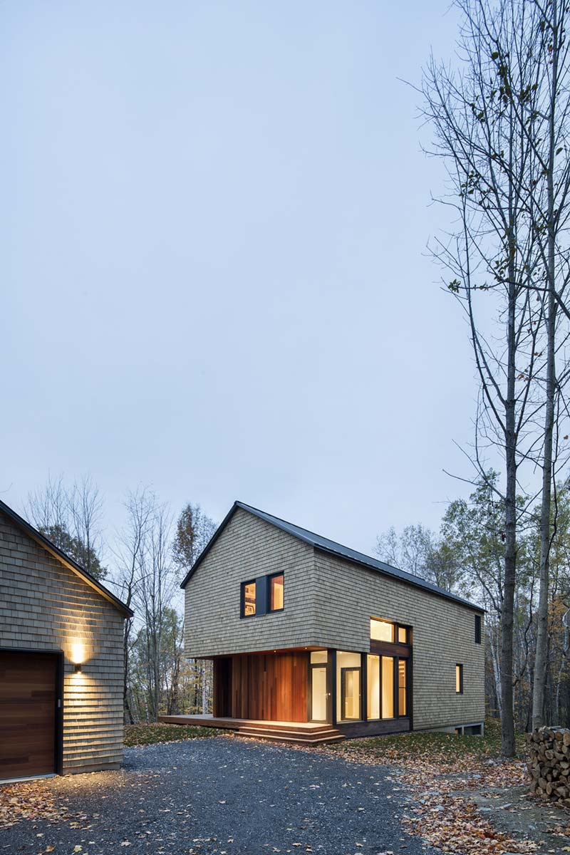 Modern forest home with cedar shingles and glazed openings for Zeb pilot house floor plan