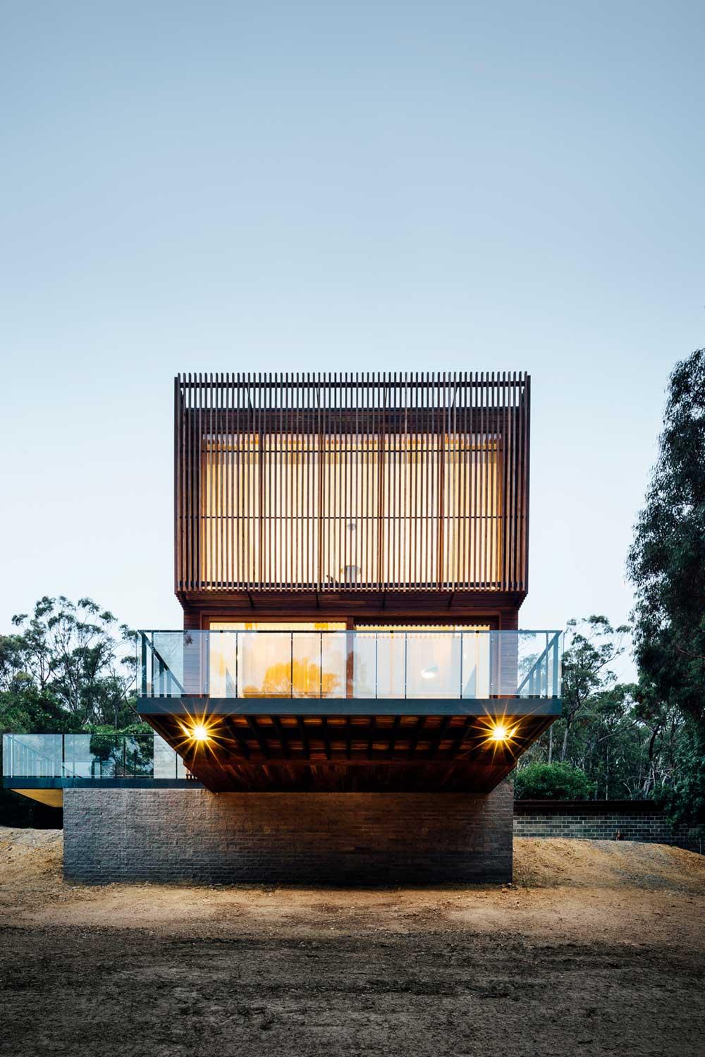 modern hillside house facade - Invermay House