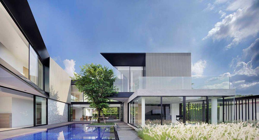 modern home 3 families pool aad 1000x541 - Aluminium House