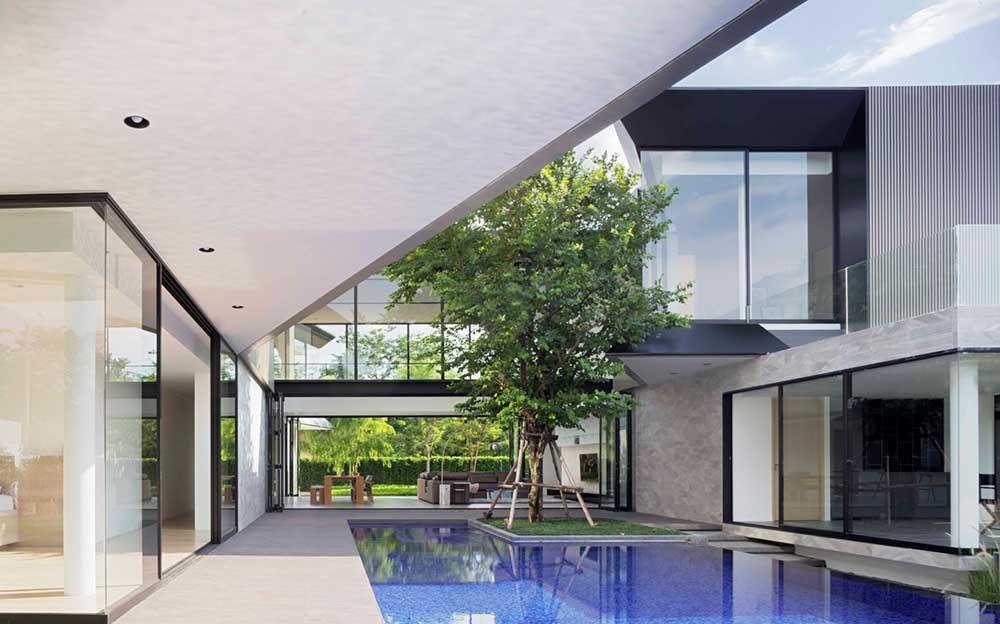 modern home 3 families pool aad1 - Aluminium House