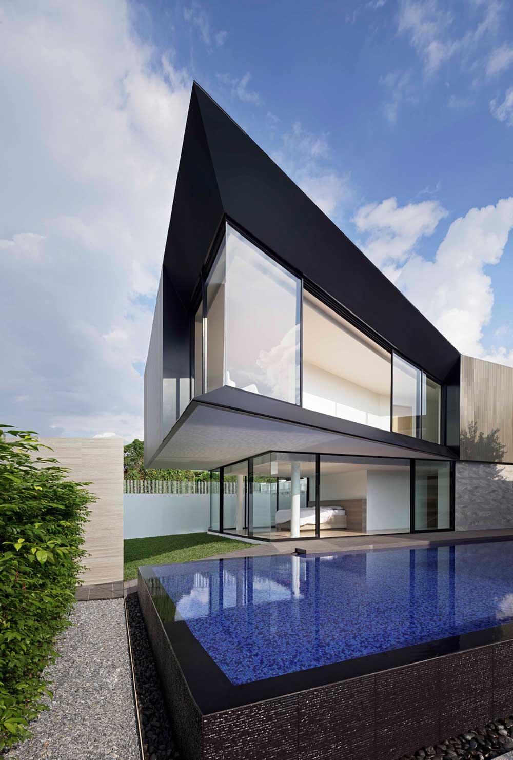 modern home 3 families pool aad2 - Aluminium House