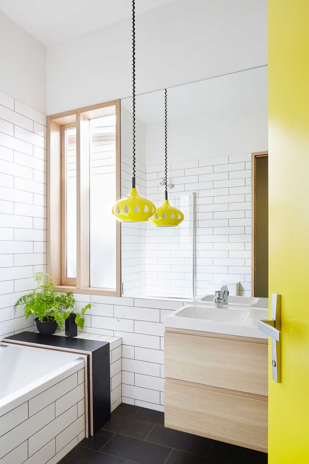 Modern home yellow bathroom design