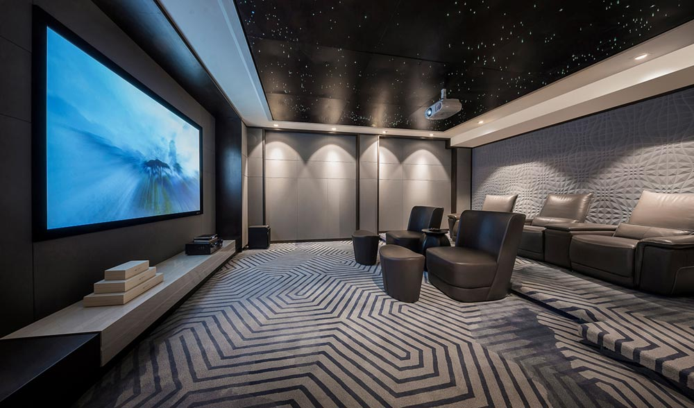 modern home design theater room - Jinke JiuQu River House