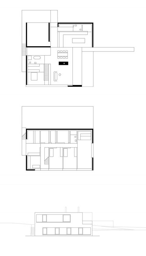 modern home plan germann - Germann House: pond + stone = a home