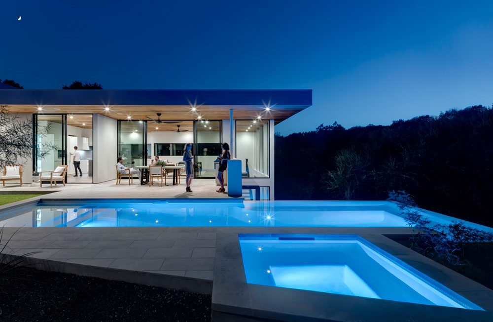 family dream home in texas - contemporary courtyard & pool area