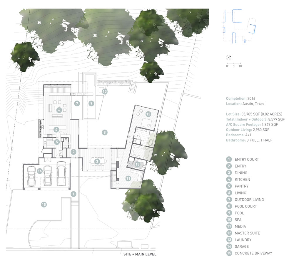 modern house courtyard plan mf - [Bracketed Space] House