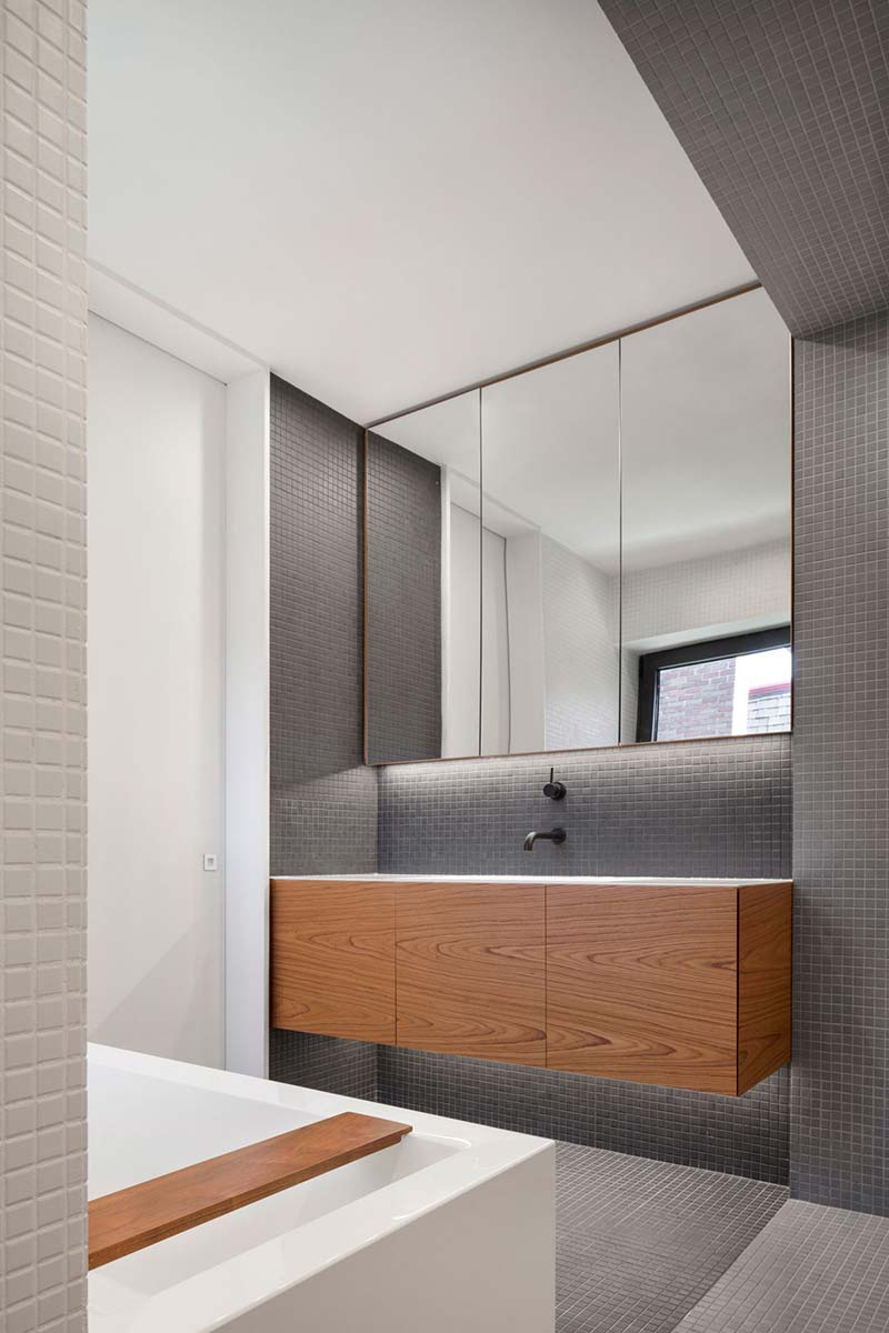 modern house grey bathroom - Courcelette Residence