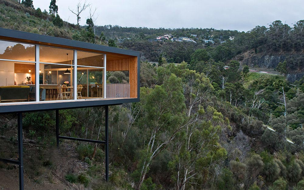 Modern Single Story House On A Sloped Lot In Tasmania