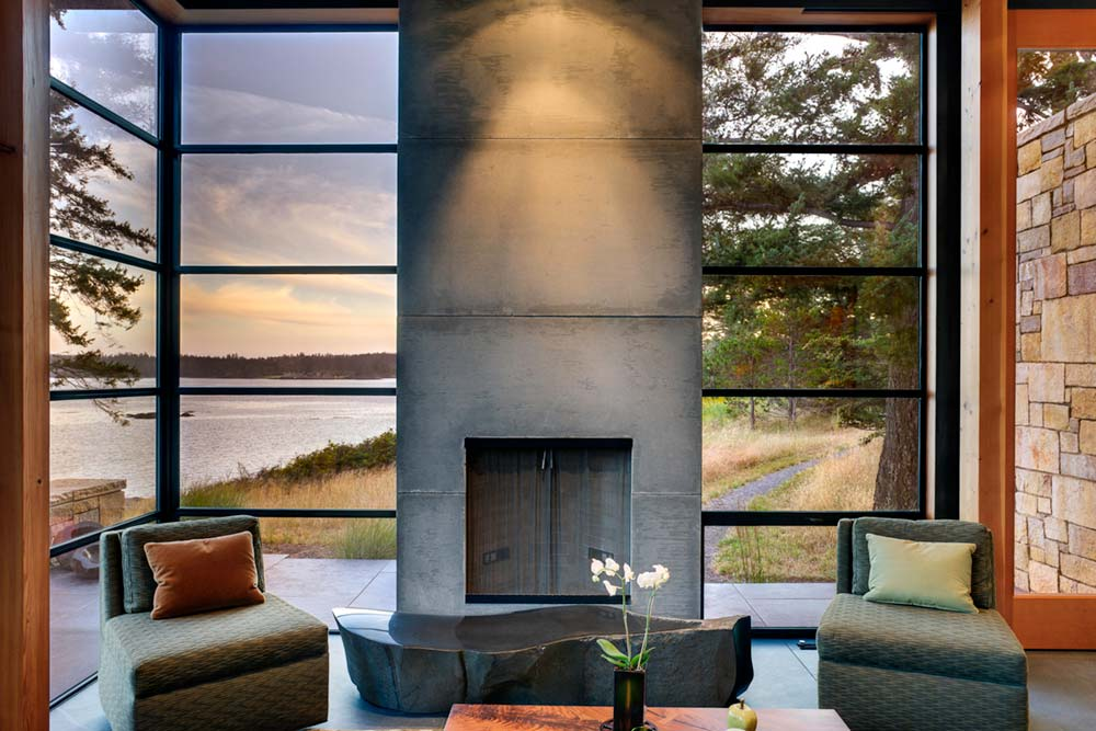modern island cabin design fireplace - North Bay Residence