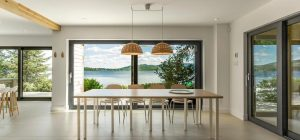 modern lake cottage dining design fxs 300x140 - Nordic Architecture and Sleek Interior Design