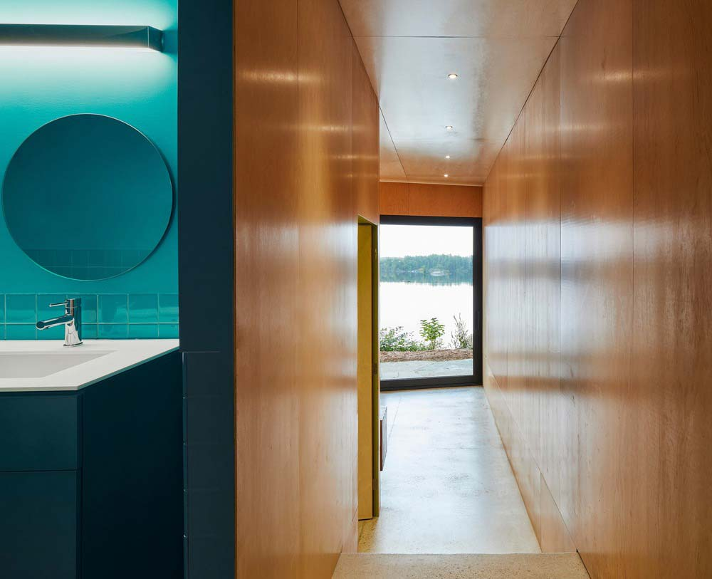 modern lake house teel bathroom - Sky House