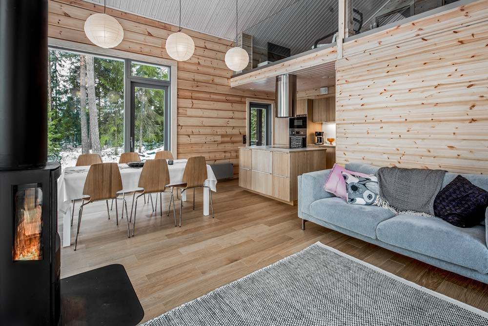modern log cabin design living space - Inio Log Cabin