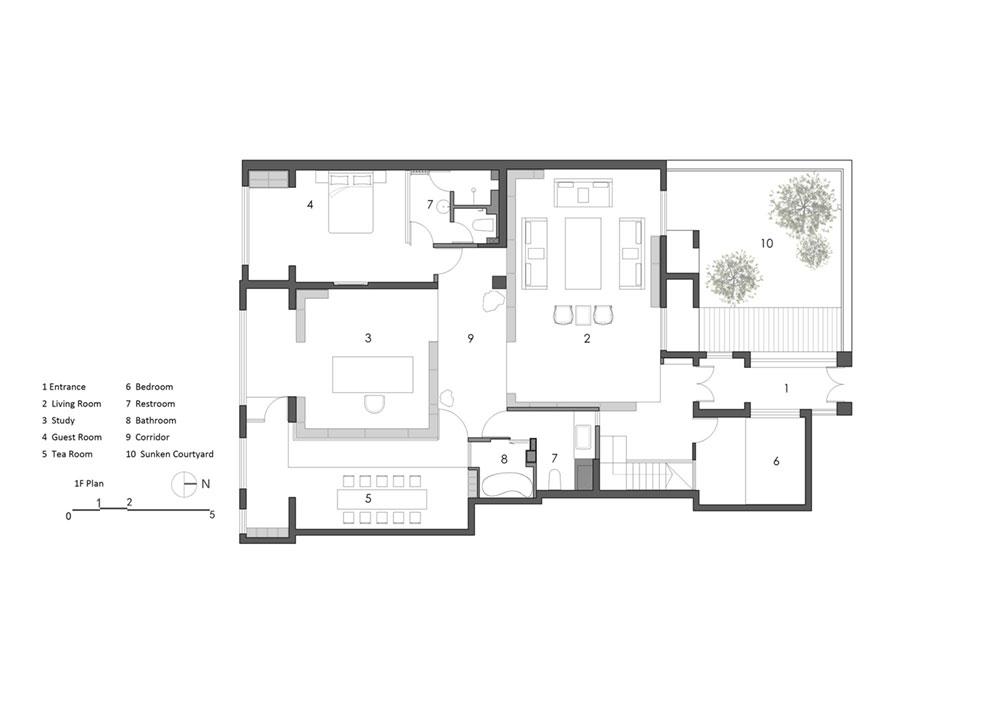 modern oriental home plan as - Haitang Villa