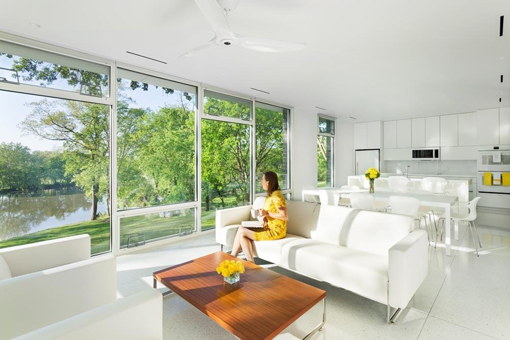 modern river home design living cb - Boetger Home