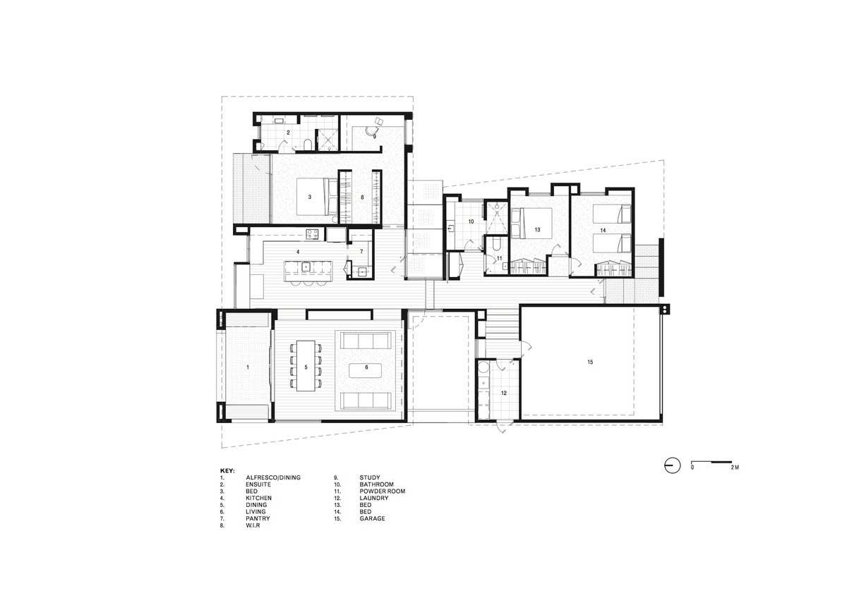 modern split level home plan - House Under Eaves