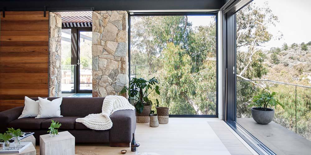 Modern stone house balcony