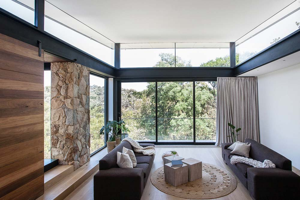 Modern stone house living room design