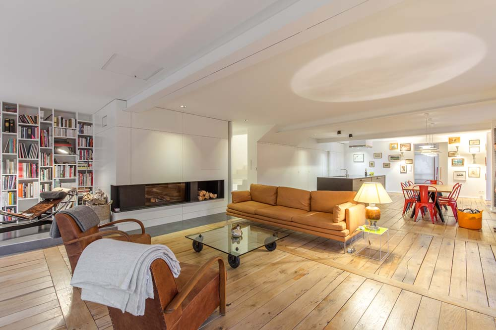 modern townhouse open living - Townhouse Renovation in Montpellier