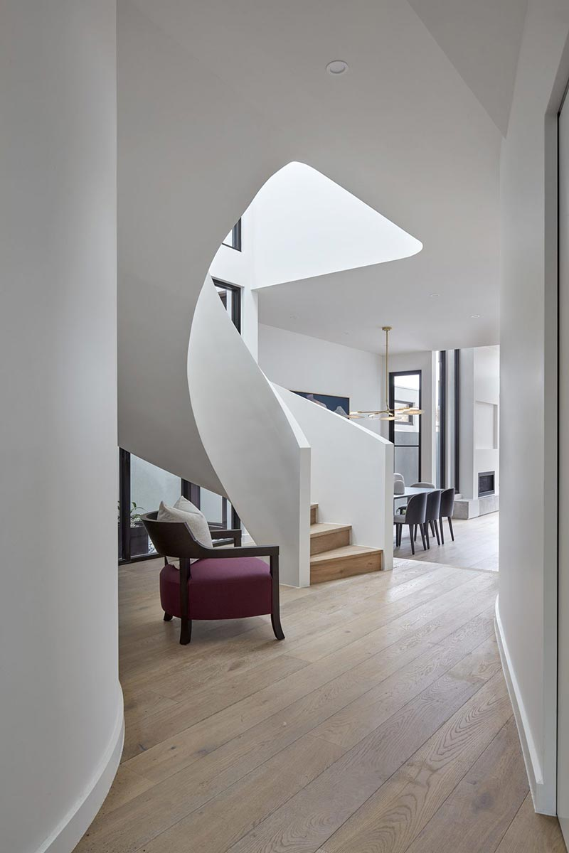 modern townhouse spiral staircase - Cressy Townhouses