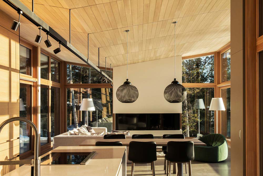 modern wooden cabin living - The Wooden Wing