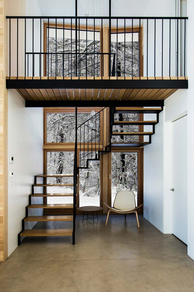 modern wooden cabin stairs - The Wooden Wing