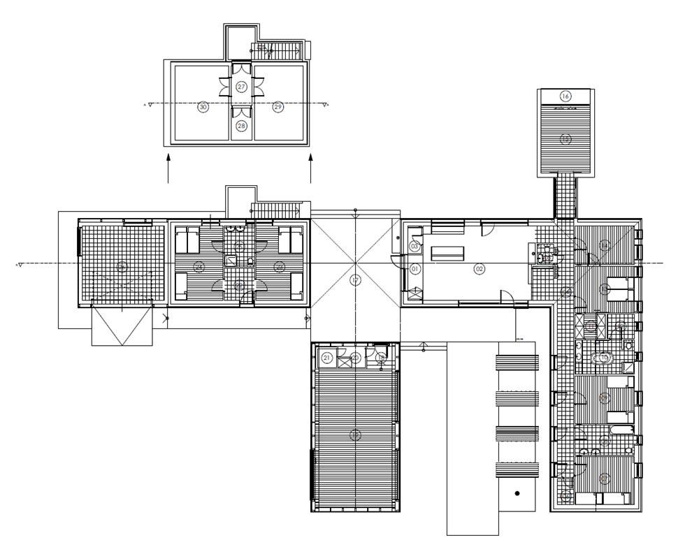 modern wooden house plan arc - Modern Wooden House