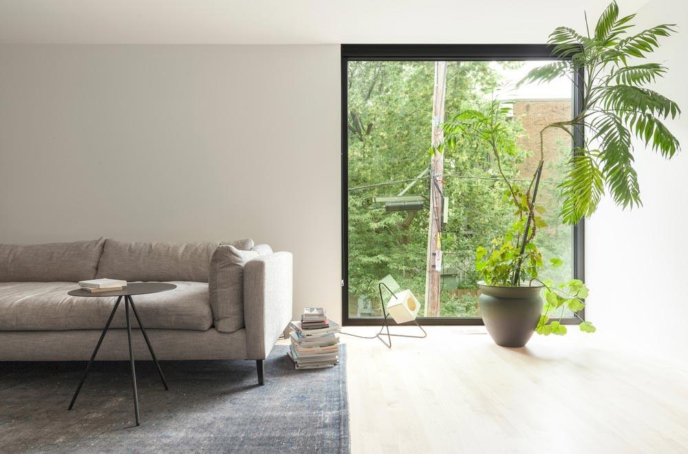 Narrow lot home modern living room design