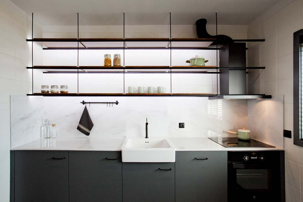 open iron kitchen storage - ELP Apartment Renovation