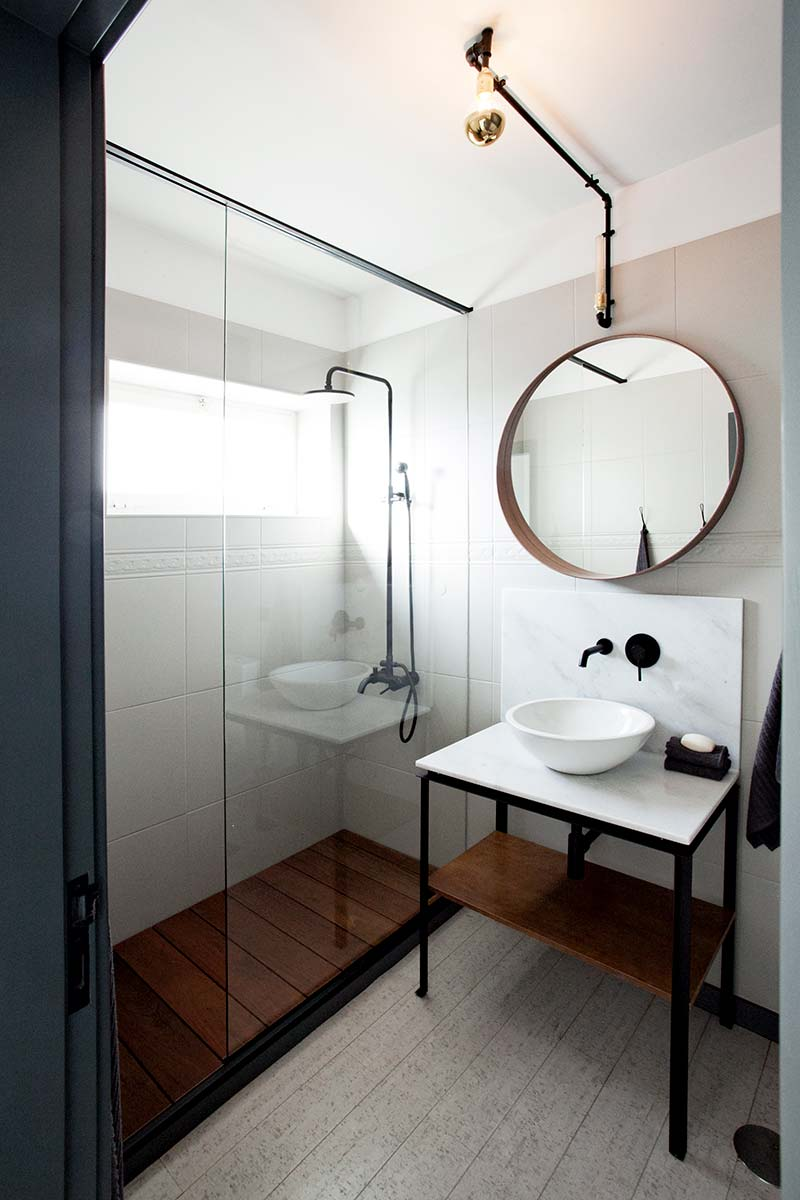 open living space interiors bathroom - ELP Apartment Renovation