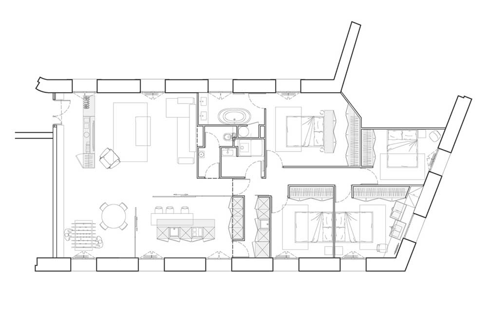 open plan apartment plan blpa - SBL Apartment